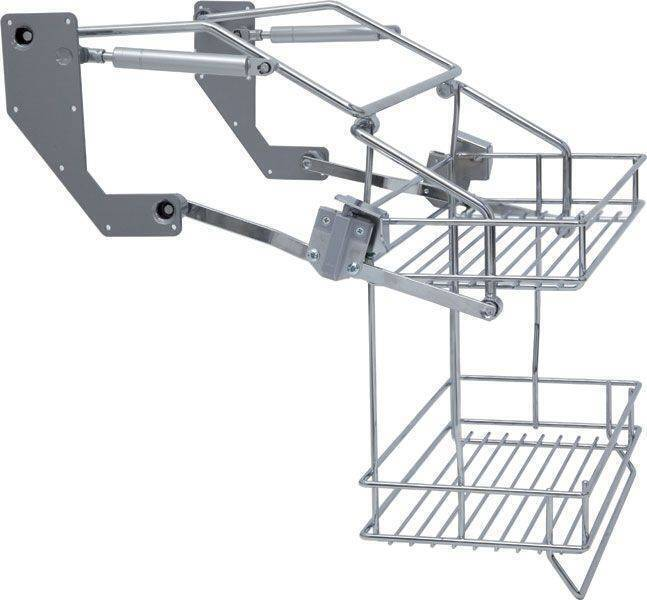 Pull down two tier wire shelf for 500 and 600mm top cabinets
