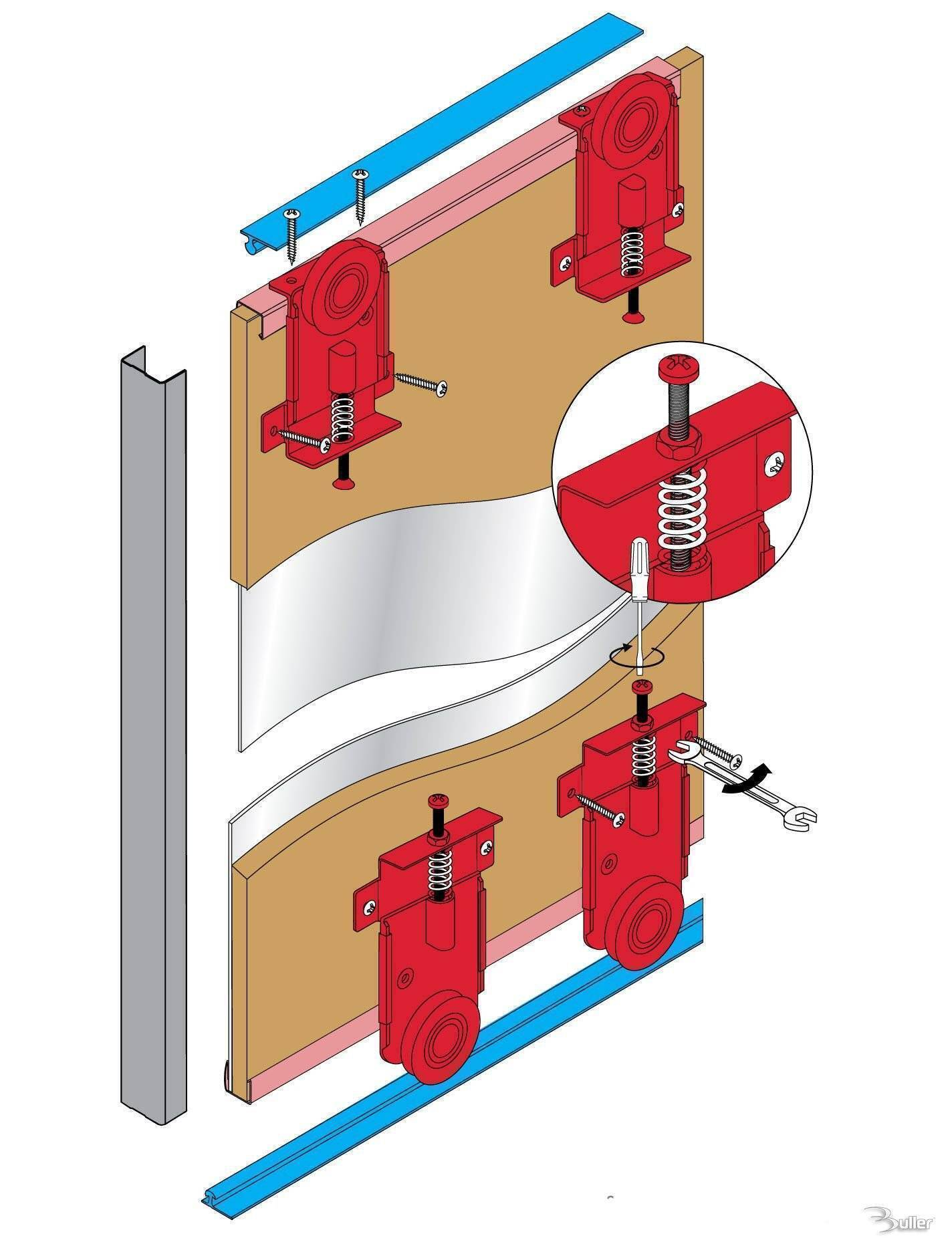 Fastor Sliding Door Gear Wardrobe Track Kit System