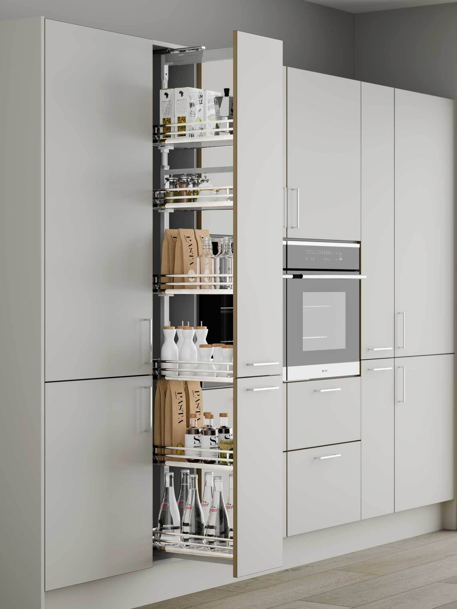 Innostor plus soft close pull out larder with solid base for 300mm tall kitchen unit
