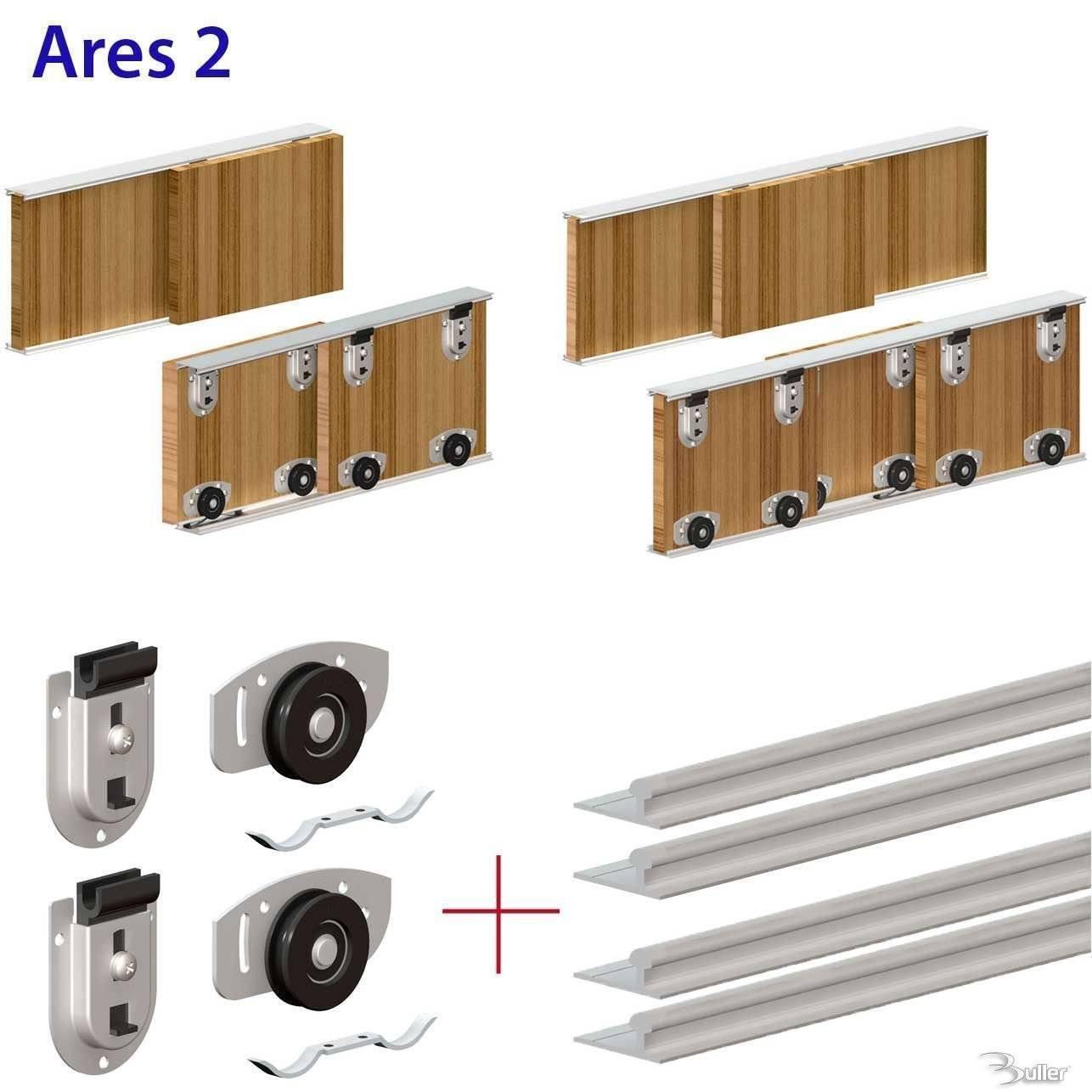 ares sliding door system wardrobe track kit. Black Bedroom Furniture Sets. Home Design Ideas